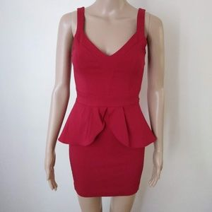 Paper Doll Peplum Red Cut Out Back Dress